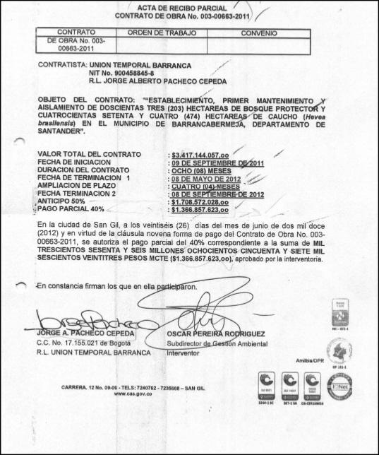 ACTA DE ENTREGA PARCIAL